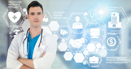 Medical Healthcare Concept - Doctor in hospital with digital medical icons graphic banner showing symbol of medicine, medical care people, emergency service network, doctor data of patient health.