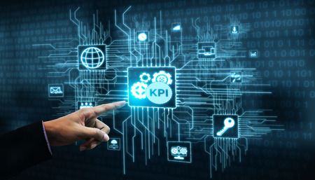 KPI Key Performance Indicator for Business Concept - Modern graphic interface showing symbols of job target evaluation and analytical numbers for marketing KPI management. Foto de archivo