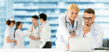 Healthcare people group. Professional doctor working in hospital office or clinic with other doctors, nurse and surgeon. Medical technology research institute and doctor staff service concept. Imagens