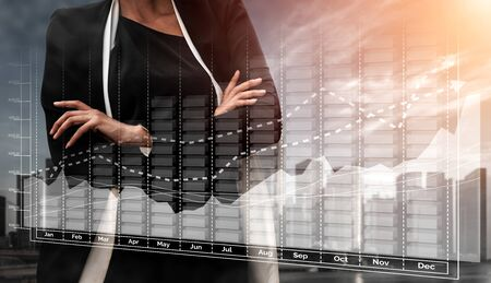 Double Exposure Image of Business and Finance - Businessman with report chart up forward to financial profit growth of stock market investment. 写真素材 - 124691107