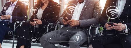 Internet of Things and Communication Technology Concept - Modern graphic interface showing smart information and digital lifestyle in application software for home and business use. Stock Photo