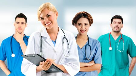 Healthcare people group. Professional doctor working in hospital office or clinic with other doctors, nurse and surgeon. Medical technology research institute and doctor staff service concept. Imagens - 124946208