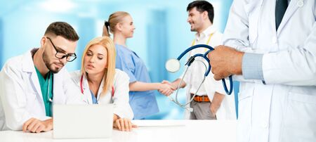 Healthcare people group. Professional doctor working in hospital office or clinic with other doctors, nurse and surgeon. Medical technology research institute and doctor staff service concept. Imagens - 124946222