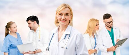 Healthcare people group. Professional doctor working in hospital office or clinic with other doctors, nurse and surgeon. Medical technology research institute and doctor staff service concept. Imagens - 124946223
