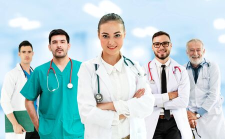 Healthcare people group. Professional doctor working in hospital office or clinic with other doctors, nurse and surgeon. Medical technology research institute and doctor staff service concept. Imagens - 124946227