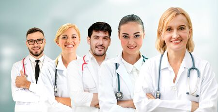 Healthcare people group. Professional doctor working in hospital office or clinic with other doctors, nurse and surgeon. Medical technology research institute and doctor staff service concept. Imagens - 124946912