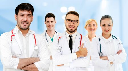 Healthcare people group. Professional doctor working in hospital office or clinic with other doctors, nurse and surgeon. Medical technology research institute and doctor staff service concept. Imagens - 124946914