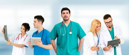 Healthcare people group. Professional doctor working in hospital office or clinic with other doctors, nurse and surgeon. Medical technology research institute and doctor staff service concept. Imagens - 124946919