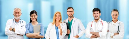 Healthcare people group. Professional doctor working in hospital office or clinic with other doctors, nurse and surgeon. Medical technology research institute and doctor staff service concept. Imagens - 124947311
