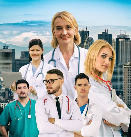Healthcare people group portrait in creative layout. Professional medical staff, doctors, nurse and surgeon. Medical technology research institute and doctor staff service concept. Imagens - 124947314