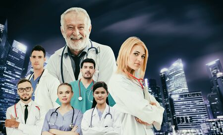 Healthcare people group portrait in creative layout. Professional medical staff, doctors, nurse and surgeon. Medical technology research institute and doctor staff service concept.
