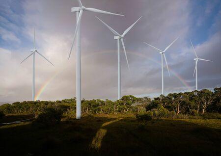 Le générateur d'énergie éolienne dans un magnifique paysage naturel pour la production d'énergie verte renouvelable est une industrie respectueuse de l'environnement. Concept de technologie de développement durable.