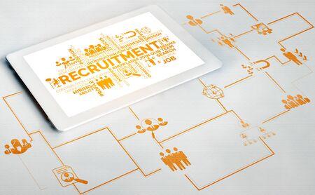 Recrutement des ressources humaines et concept de mise en réseau des personnes. Interface graphique moderne montrant l'embauche d'employés professionnels et le chasseur de têtes à la recherche d'un candidat à un entretien pour une future main-d'œuvre. Banque d'images