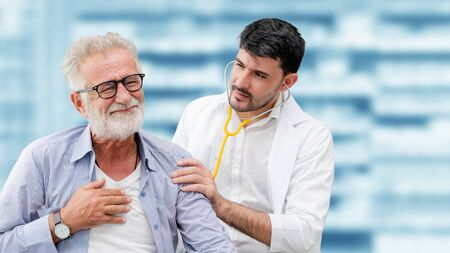 Patient visits doctor at the hospital. Concept of medical healthcare and doctor staff service. Stock Photo