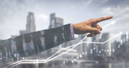 Double Exposure Image of Business and Finance - Businessman with report chart up forward to financial profit growth of stock market investment. Stock fotó