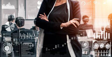 Tecnología de Big Data para el concepto analítico de finanzas empresariales. La interfaz gráfica moderna muestra información masiva del informe de ventas comerciales, el gráfico de ganancias y el análisis de tendencias del mercado de valores en el monitor de pantalla. Foto de archivo