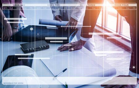 Projektmanagementplan für die Geschäftsplanung. Moderne grafische Benutzeroberfläche, die die Zeitleiste der einzelnen Aufgabentermine im Plan anzeigt, die vom Projektmanager überwacht werden können, der den Gesamtplan verwaltet. Standard-Bild