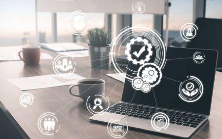 Concepto de garantía de calidad y control de calidad: interfaz gráfica moderna que muestra el proceso estándar certificado, la garantía del producto y la tecnología de mejora de la calidad para la satisfacción del cliente.