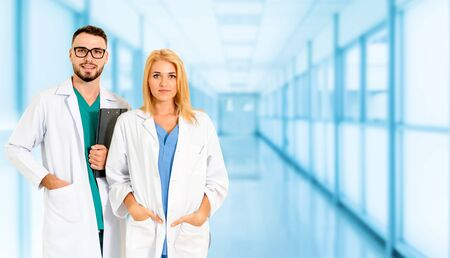 Doctor working with another doctor in the hospital. Healthcare and medical service. Stock Photo