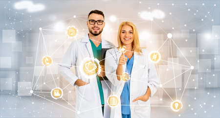 Medical Healthcare Research and Development Concept. Doctor in hospital lab with science health research icon show symbol of medical care technology innovation, medicine discovery and healthcare data. 版權商用圖片