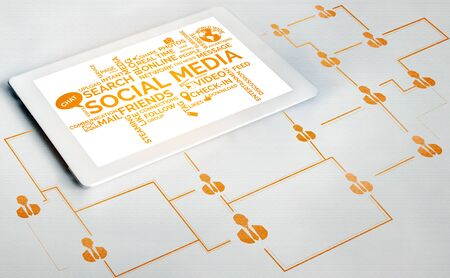 Social media and young people network concept. Modern graphic interface showing online social connection network and media channels to engage customer interaction in the digital business.