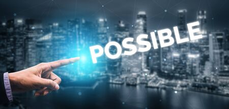 Creative business people hand pointing at word. Concept image of achievement and goal success. Stockfoto