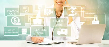 Health Insurance Concept - Doctor in hospital with health insurance related icon graphic interface showing healthcare people, money planning, risk management, medical treatment and coverage benefit. Zdjęcie Seryjne - 128903355