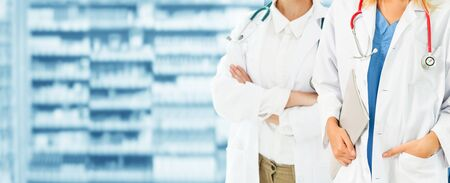 Healthcare people group. Professional doctor working in hospital office or clinic with another doctor. Medical technology research institute and doctor staff service concept.