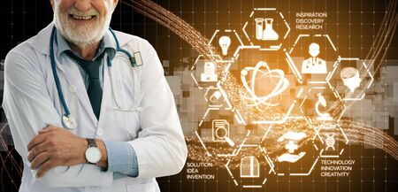 Medical Healthcare Research and Development Concept. Doctor in hospital lab with science health research icon show symbol of medical care technology innovation, medicine discovery and healthcare data. 写真素材 - 128879832