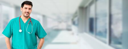 Portrait of male surgeon at the hospital. Medical healthcare and doctor staff service.