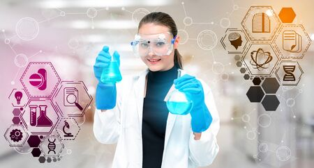 Medical Healthcare Research and Development - Scientist in hospital lab with science health research icon show symbol of medical care technology innovation, medicine discovery and healthcare data.