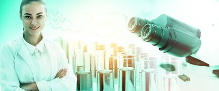 Research and development concept. Double exposure image of scientific and medical lab instrument, microscope, test tube and glass flask for microbiology and chemistry in laboratory for medicine study. 写真素材 - 128879247