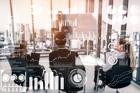 Big Data Technology for Business Finance Analytic Concept. Modern graphic interface shows massive information of business sale report, profit chart and stock market trends analysis on screen monitor. 写真素材