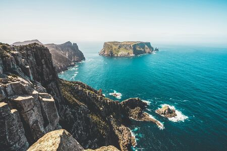 Beautiful coast landscape of Tasman National Park in Tasman peninsula, Tasmania, Australia. Banco de Imagens