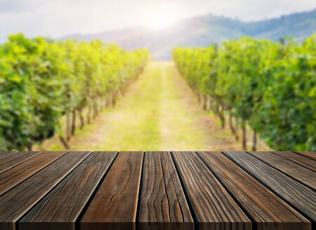 Brown wood table in green spring vineyard landscape with empty copy space on the table for product display mockup. Agriculture winery and wine tasting concept. Zdjęcie Seryjne