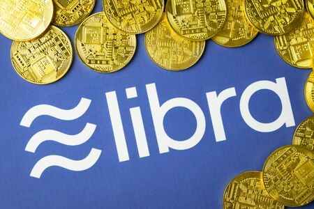 Bangkok, Thailand - July 2, 2019: Libra logo is printed on white paper. Facebook reported to utilize new cryptocurrency called Libra. Libra was reported to be used for purchases in Facebook and other.