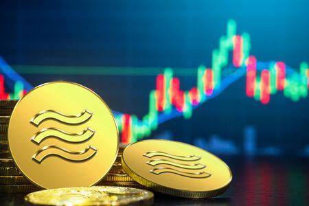 Libra-Kryptowährungsmünze wurde neu in die digitale Geldwirtschaft der Welt eingeführt. Es wurde berichtet, dass Libra auf vielen Partner-Internet-Websites für elektronische Zahlungen verwendet wird. Standard-Bild