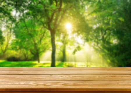 Brauner Holztisch in Grün verwischen Naturhintergrund von Bäumen und Gras im Park mit leerem Kopienraum auf dem Tisch für Produktpräsentationsmodell. Frischer Frühling und Naturproduktkonzept.