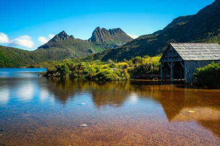 Schöne Szene von Cradle Mountain Peak vom Dove Lake im Cradle Mountain National Park, Tasmanien, Australien.
