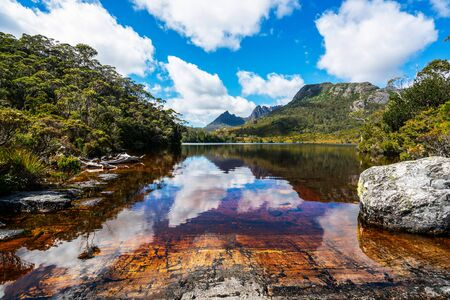 Beautiful scene of Cradle mountain peak from Dove lake in Cradle Mountain National Park, Tasmania, Australia. Фото со стока
