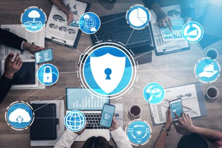 Cyber Security and Digital Data Protection Concept. Icon graphic interface showing secure firewall technology for online data access defense against hacker, virus and insecure information for privacy.