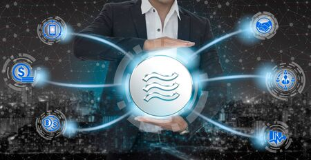 Libra cryptocurrency coin newly introduced to world digital money economy. Libra was reported to be used for electronic payment on many partner internet website. Stockfoto