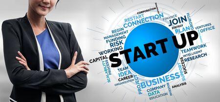 Start Up Business of Creative People Concept - Moderne grafische Benutzeroberfläche mit Symbol für Unternehmertum, Fonds und Projektplan zur Gründung eines neuen Kleinunternehmens durch eine intelligente Unternehmergruppe.