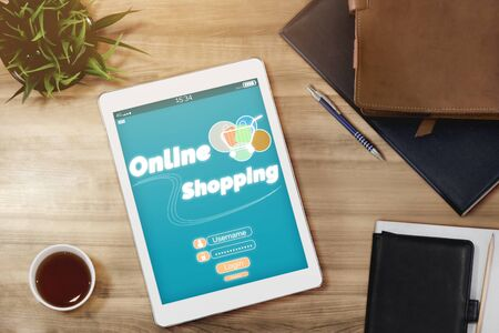 Online shopping and Internet Money Payment Transaction Technology. Modern graphic interface showing e-commerce retail store for customer to purchase product on the website and pay by online transfer. 写真素材