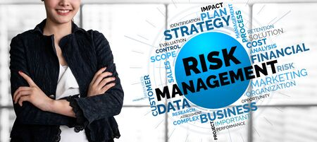 Risk Management and Assessment for Business Investment Concept. Modern graphic interface showing symbols of strategy in risky plan analysis to control unpredictable loss and build financial safety.