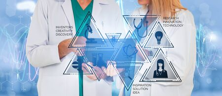 Medical Healthcare Research and Development Concept. Doctor in hospital lab with science health research icon show symbol of medical care technology innovation, medicine discovery and healthcare data. 写真素材
