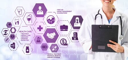 Health Insurance Concept - Doctor in hospital with health insurance related icon graphic interface showing healthcare people, money planning, risk management, medical treatment and coverage benefit.