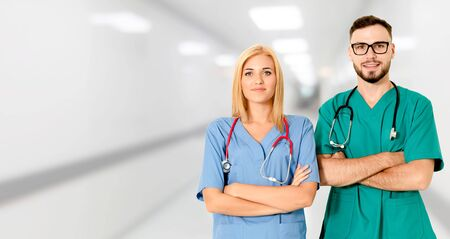 Doctor working with another doctor in the hospital. Healthcare and medical service. Banco de Imagens