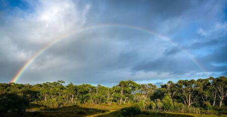 Beautiful rainbow over the horizon of rainforest in Tasman peninsular in Tasmania, Australia. Banco de Imagens