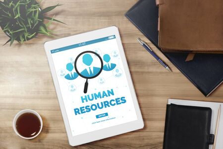Human Resources Recruitment and People Networking Concept. Modern graphic interface showing professional employee hiring and headhunter seeking interview candidate for future manpower. 免版税图像 - 129206042